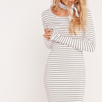 Missguided - Long Sleeve Bodycon Stripe Dress