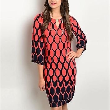 RED NAVY DRESS SHIFT DRESS