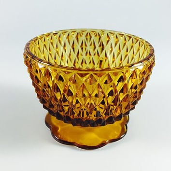 Vintage Amber Cut Glass Candy Dish Retro Pedestal Bowl Compote Brown Candle Holder Home Decor