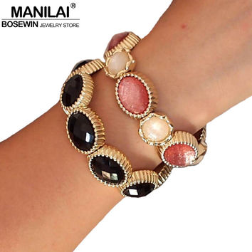 MANILAI Unique Design Hand Made Acrylic Shining Colorful Resin Elastic Strand Gorgeous Bangles & Bracelets Women Strand Bracelet