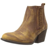 Very Volatile Womens Script Leather Distressed Booties