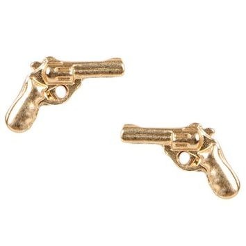 Gold Gun Stud Earrings