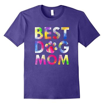 Best Dog Mom T-Shirt Attractive Watercolor Paint Art Paws