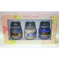 Gift Set 3 Yankee Candles 3.7 Oz Jars, Lavender Vanilla, Midnight Jasmine, Lilac Blossoms