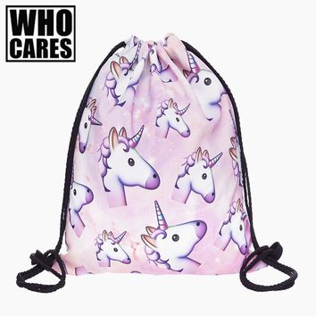 Pink unicorn small Backpack women 3D printing travel softback men mochila drawstring bag School girls backpacks sac a dos