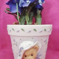 Enesco Cherished Teddies Mini Flower Pot with Irises