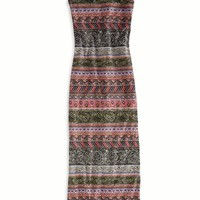 AEO Women's Printed Maxi Tank Dress (Black)