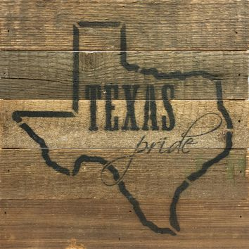 Texas Pride - Reclaimed Wood Art Sign 10-in Square Natural Finish
