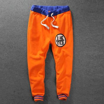 Men Dragon Ball Jogger Pants Anime Dragon Ball Z Son Goku Fleece Joggers New 2017 Mens Orange Sweatpants Free Shipping