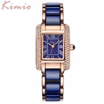 KIMIO Most Fashion Best Quality! Ceramic Bracelet Ladies Watches Top Brand Luxury Rose Gold Womens Watches 6036
