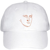 Roman bust white canvas embroidered cap
