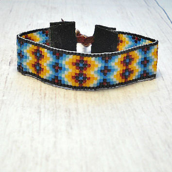 Beaded Bracelet - Bead Loom Bracelet Indian Sunset - Loom Bracelet - Adjustable Bracelet - Womens Bracelet
