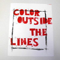 Color outside the lines, Lino letterpress print, 8X10 inches