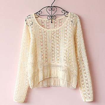 Hollow out knitting tassel sweater
