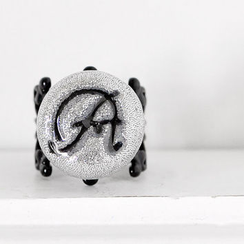 Custom Initial Glitter Ring Handmade Fashion Jewelry for Women, Weddings, Bridesmaids in Silver Glittered Polymer Clay