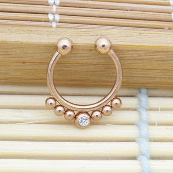 1pcs/lot Stainless Steel Rose Gold Indian Fake Nose Ring Fake Septum Clicker Nose Hoop Clip On Non Septum Piercing