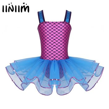 Kids Mermaid Sequins Wide Shoulder Straps Ballet Dance Class Ballet Tutu Dress Gymnastics Leotard Girls Stage Performance Dress