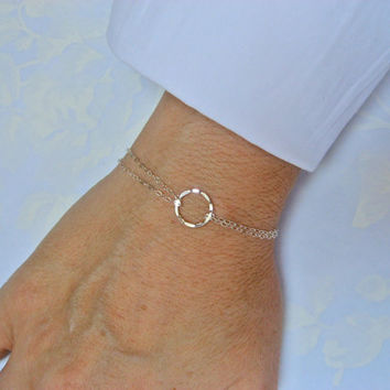 Eternity Bracelet, 925 Sterling Silver, Karma Bracelet, Eternity Circle Bracelet, Double Thin Chain, Friendship Gift, Delicate Jewelry