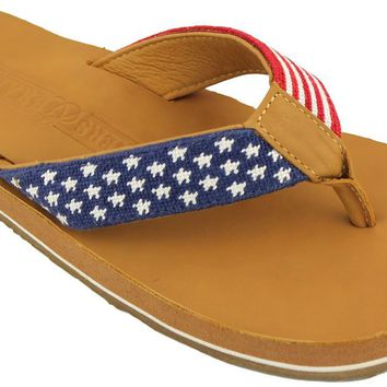 Old Glory Needlepoint Flip Flops in Red White and Blue by Smathers & Branson