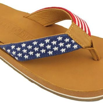 Old Glory Needlepoint Flip Flops in Red White and Blue by Smathers and Branson