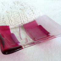 Cranberry and Pale Pink Glass Soap Dish by bprdesigns on Etsy