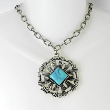 Unsigned Karu Choker Necklace, Faux Turquoise Silver Tone Necklace, Vintage Southwestern Jewelry, Fashion Necklace, 1970s Jewellery, Gift