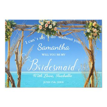 Floral Boho Ocean Summer Beach Wedding Bridesmaid Invitation