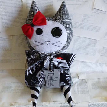 Stuffed Cat Doll Creepy Cute White and Black - Plush Kitty - Soft Toy Animal - Red Accent Bow - Weird and Unusual