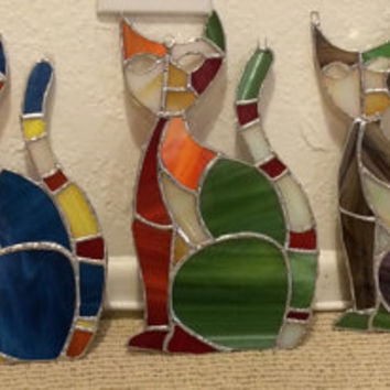 Abstract Stained Glass Cat Suncatcher