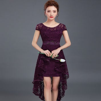 Scoop Neck Lace High Low Cocktail Dress 2017 Elegant Party Dress Short Front Long Back Gowns