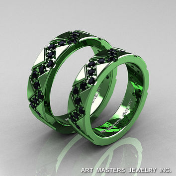 black and green wedding rings - Green Wedding Rings