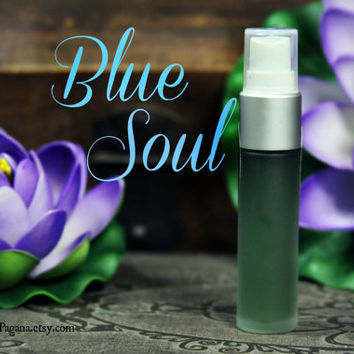 Natural perfume spray - rose blue lotus - BLUE SOUL - Rare Alchemy Collection - travel bottle w spray 1/3 ounce 9ml