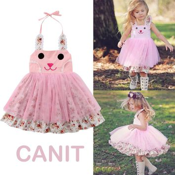 cb1649eb459 US Baby Girl Easter Bunny Dress Floral Party Outfit Princess Tul