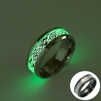 Lmikni Vintage Punk Stainless Steel Luminous Rings Jewelry Glow In The Dark Dragon Ring For Men Nightclub