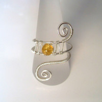 Handmade Silver Plated Amber Orange Crackle Glass Wire Wrap Ring, Wire Weave, Spirals