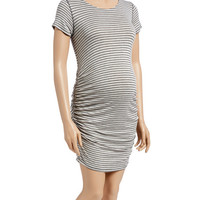 Heather Gray & Navy Stripe Side-Ruched Maternity Dress