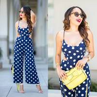 Navy Polka Cutout Jumpsuits