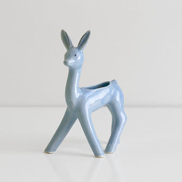 Vintage 1940s Periwinkle Blue Ceramic Deer Planter from Occupied Japan