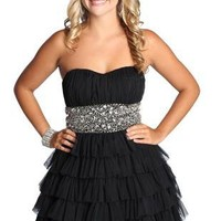 beaded strapless homecoming dress with ruffles - debshops.com