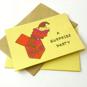 Vintage Surprise Party Invitations, Clown Party, Jack-in-the Box, Orange Pink Yellow Flower Power Velvetone Screen Print Cards, 1960s
