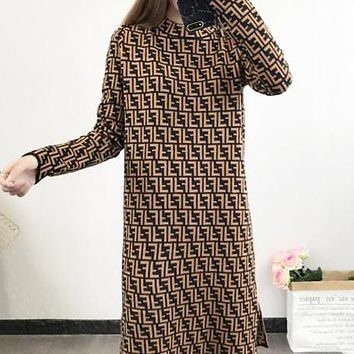 FENDI Autumn Winter New Popular Women Casual Long Sleeve Knit Dress Coffee