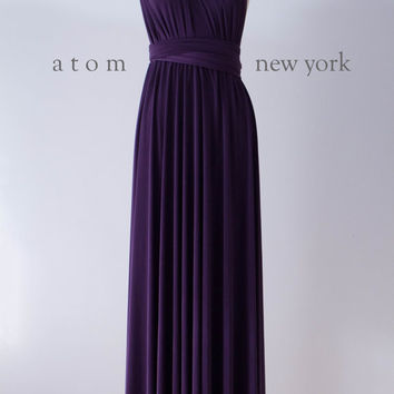 Dark Purple Grape Floor Length Ball Gown Long Maxi Infinity Dress Convertible Formal Multiway Wrap Dress Bridesmaid Dress Evening Dress