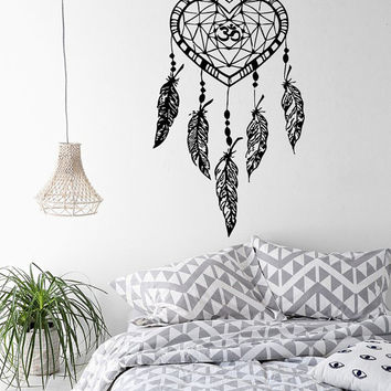 Wall Decals Dream Catcher Amulets Indian Pattern Om Oum Sign Feathers Gym Yoga Vinyl Decal Sticker Home Bedroom Interior Decor kk724