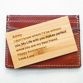 Wood Wallet Insert Card, Personalized Man Jewelry, Custom Card, Handmade Words Text, Gift for father, boyfriend, husband