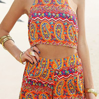 Paisley Print Halter Cut-Out Romper