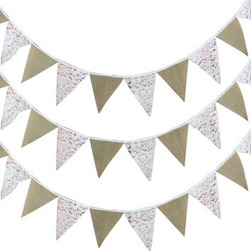 12 Flags Linen Lace Wedding Party Pennant Bunting Banners DIY Garland Decor Birthday Baby Shower Supplies