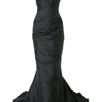 Romona Keveza Off Shoulder Ruched Fishtail Gown - Farfetch