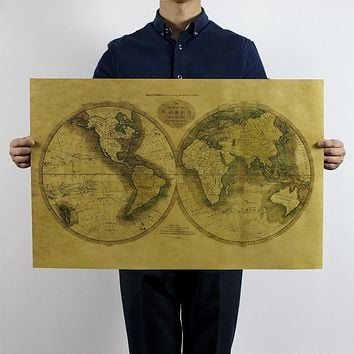 Vintage Old Global World Map Home Decoration Antique Poster Wall Chart Retro Paper Matte Kraft Paper Map Of World