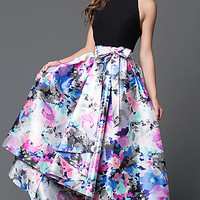 Floral Print High Low Halter Dress