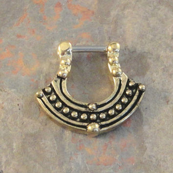 16 Gauge (1.2mm) Gold Tribal Aztec Moon Septum Clicker Daith Hoop